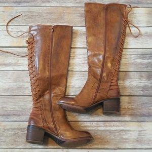 Lace Up (zipper) Knee-High Boots